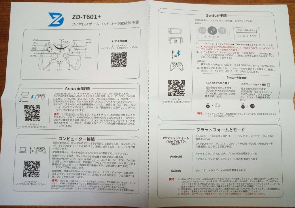 ZD-T601+取扱説明書表面