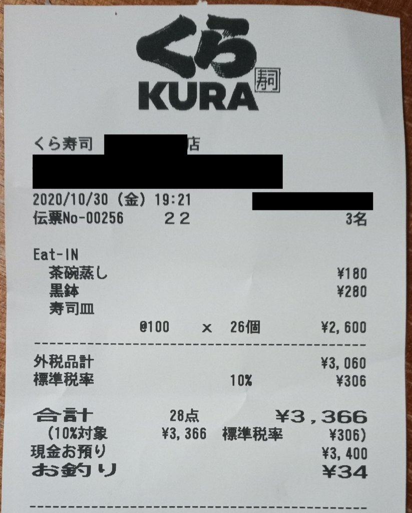 くら寿司レシート