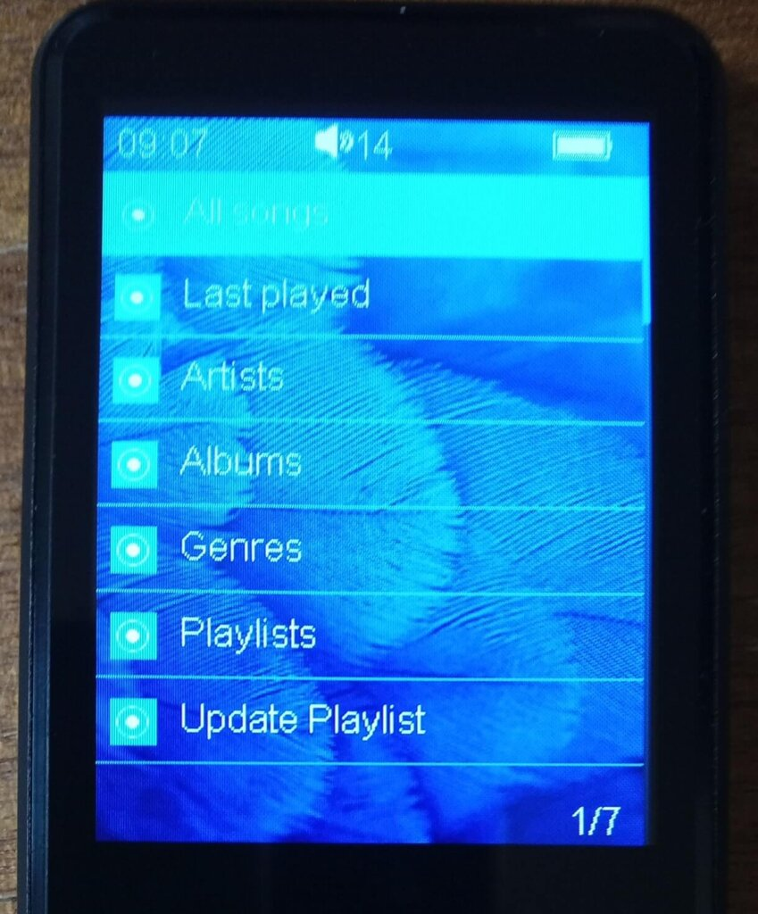 MP3プレイヤー画面